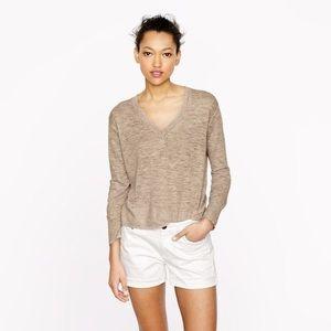 j. crew // marled linen v-neck sweater tan